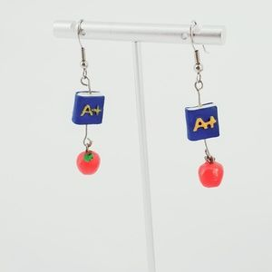 Hanging earrings Blue book Yellow A+, Red Apple
